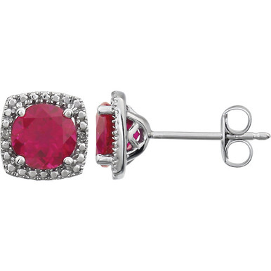 "Beautiful sterling silver Ruby June birthstone diamond earrings with .015 ct tw. Say ""I love you"" to any woman in your life; a friend, mother, wife, girlfriend, daughter. All earrings are sold in pairs."