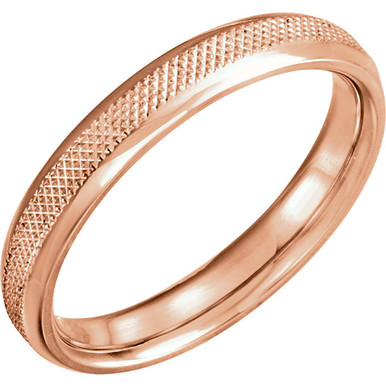 Seal your matrimonial commitment with a gleaming 4mm 14K gold knurl design wedding band with a polish finished. He will enjoy the polished glisten and the straightforward design for a lifetime.