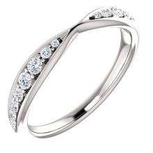 Promise to love, honor and cherish her with this exquisite diamond wedding band. Crafted in 14K white gold, this contoured band is lined with 16 shimmering prong-set diamonds. A meaningful look of love, this ring captivates with 1/4 ct. t.w. of diamonds and a bright polished shine.