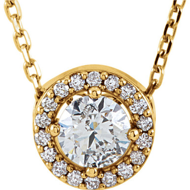 """Our designer inspired 1/3 ct. tw. round cut diamond styled 16"""" halo necklace in 14kt yellow gold is a perfect match for today's style. Show off this wonderful Necklace with any and every outfit. This necklace is simple yet stunning, captivating like no other."""