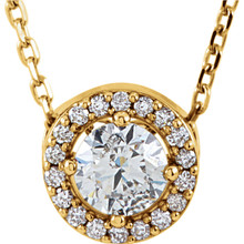 """Our designer inspired 1/4 ct. tw. round cut diamond styled 16"""" halo necklace in 14kt yellow gold is a perfect match for today's style. Show off this wonderful Necklace with any and every outfit. This necklace is simple yet stunning, captivating like no other."""