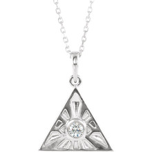 This sterling silver necklace features an All Seeing Eye of Providence pendant and a diamond solitaire with a total weight of 1/10 carat. Pendant hangs on an 18 inch cable chain and secures with a spring ring.