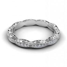 Created with exceptional precision and design, this wedding band is designed to perfectly complement the exquisite engagement ring - marking the couple's first step toward a life together.      Approximate # Of Stones: 50     Approximate Carat Weight: 0.18     Average Color: F-G     Average Clarity: VS1     Width: 3.3mm     Height: 2.4mm