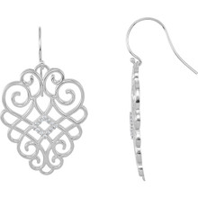 Superb style is found in these sterling silver earrings accented with the brilliance of round full cut white diamonds. Total weight of the diamonds is 1/4 carats.