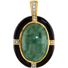 Delightful color is captured in this 20x14mm Genuine Russian Jadeite, Onyx gemstone in 14Kt yellow gold pendant featuring articulate design.