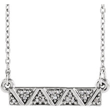 "This cute necklace features a petite diamond bar hanging on a 16-18"" adjustable chain."