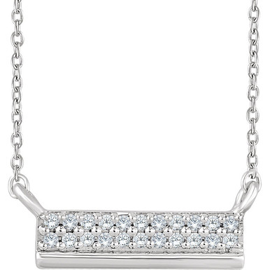 """Beautiful 14k white gold necklace features white shimmering diamonds with I1 G-H of diamonds hanging from a 18"""" inch chain which is included."""