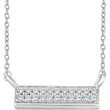 "Beautiful 14k white gold necklace features white shimmering diamonds with I1 G-H of diamonds hanging from a 18"" inch chain which is included."