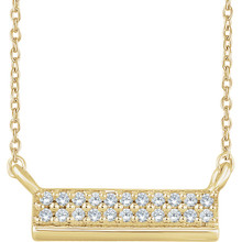 """Beautiful 14k yellow gold necklace features white shimmering diamonds with I1 H+ of diamonds hanging from a 18"""" inch chain which is included."""