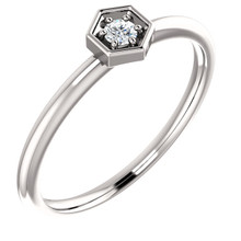 This gorgeous diamond hexagon stackable ring can be worn on its own, or it can be stacked with other rings to really make a dramatic style statement. It has a very simple and timeless design with .06 ct tw diamond that twinkle and shine. This beautiful ring is pictured here in sophisticated platinum.