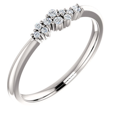 Beautifully designed 14k White Gold 1/10th Diamond Cluster Stackable ring.