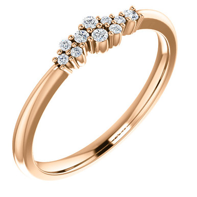 Beautifully designed 14k Rose Gold 1/10th Diamond Cluster Stackable ring.