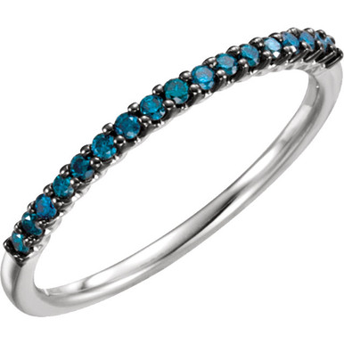 A beautiful 14k white gold 1/6 ctw blue diamond stackable ring.