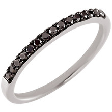 Add a sophisticated touch to your ensemble with this black diamond ring, crafted in polished, 14k white gold. This gorgeous ring also delights with 15, prong-set black diamond accents. *T.W. (total weight) is approximate. 1/5 carat T.W. may be 0.17 to 0.23 carat.