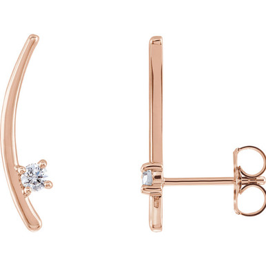 Beautiful 14k rose gold earrings climber set with one gorgeous diamond to give it a tasteful look!