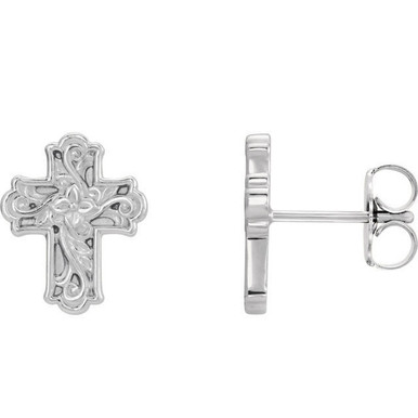 This symbol of Christianity was created from polished platinum. Floral-inspired cross earrings with a friction-back post. They are approximately 9.52mm in width by 11.75mm in length.