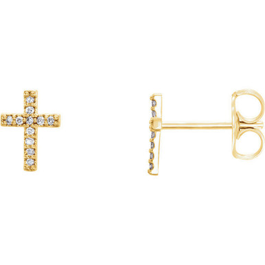 Share your faith with these diamond cross earrings with 22 round full cut diamonds. Set in 14k yellow gold, these cross shaped earrings feature a total weight of 1/10 carats of diamond light. These stud-style cross earrings with their diamond sparkle sit close to the ear and are sure to light up any outfit, any time.