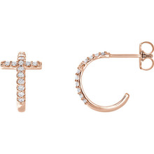 Treat the woman of faith to these dazzling diamond cross hoop earrings. Expertly crafted in 14k rose gold, each hoop features a diamond-lined cross-shaped accent, a brilliant expression of her beliefs. Radiant with 1/4 ct. t.w. of diamonds and finished with a bright polished shine, these hoops secure comfortably with friction backs.