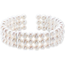 Perfect for any occasion from your wedding day to everyday, this bracelet features a triple-strand of gleaming, well-matched, white Freshwater cultured pearls set in three stunning rows.
