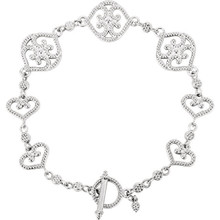 "Express your style through this beautiful Granulated Metal Fashion 7.5"" bracelet in 14k white gold. Polished to a brilliant shine."