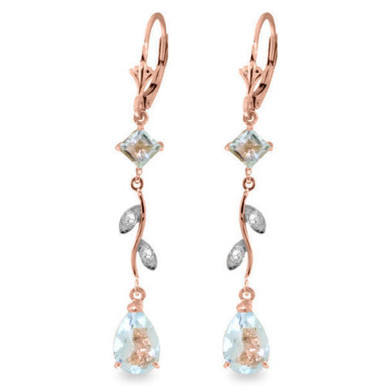 The soft and beautiful hue of aquamarine looks beautiful when paired with sparkling white diamonds. These 14k gold chandelier earrings with natural diamonds and aquamarine use these two stones to create a stunning cascading effect. Two square shaped and two pear shaped aquamarine stones add almost four carats of shining beauty to these beautiful earrings, which are offset by four round cut diamonds. The rose gold leverbacks make these gorgeous earrings secure and comfortable to wear for any special occasion.