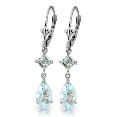 The light blue hues of aquamarine gemstones add soft and subtle elegance to any jewelry that they adorn. These 14k white gold leverback earrings with aquamarine stones look as heavenly as a clear blue sky. Two square shaped stones measuring at a full carat are draped from the solid gold leverbacks. Two additional pear shaped stones cascade down adding an additional three and a half carats of sparkling beauty. These earrings are subtle enough to wear in the office, but versatile enough to be worn for a night out on the town.