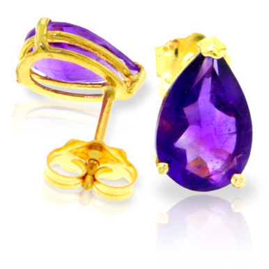 Gorgeous studs are a jewelry staple that are easy to wear for any occasion. Those who love studs in a multitude of bright colors will have to add these bright 14k yellow gold stud earrings with natural amethyst to their jewelry collection. Two pear shaped amethyst studs make up this pair, with over three carats of color and sparkle to decorate the earlobes with. Friction push backs are attached to the rose gold posts to hold them securely in place.