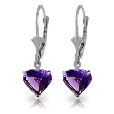 Show that special someone how much you love her by presenting her with hearts, such as the stunning amethyst stones on these 14k gold leverback earrings with natural amethysts. Over three carats of breathtaking purple amethyst delicately hang from a rose gold setting. The heart shape of the stones is simply beautiful and shows her how much you care. The traditional leverbacks have long been a favorite earring style for making earrings comfortable and easy to wear anytime, while making sure they are held perfectly in place.