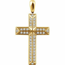 Inspiring and eye-catching, this brilliant diamond pendant showcases beautiful 14k yellow gold and measures 35.7x19.10 mm. This simple cross has rich round full-cut genuine diamonds measuring 1/3 ct. tw. and has a bright polish to shine.