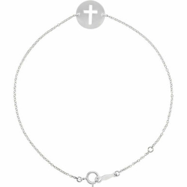 As much an expression of faith as it is fashion, this pierced cross bracelet is a lovely look for her. Polished to a brilliant shine.