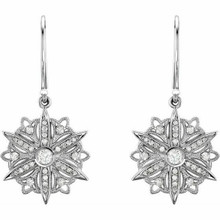 Diamond Vintage-Style Earrings In Sterling Silver (1/2 ct. tw.). Diamonds are G to H in color and I1 or better in clarity. Polished to a brilliant shine.