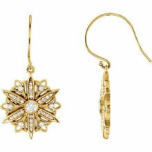 Diamond Vintage-Style Earrings In 14K Yellow Gold (1/2 ct. tw.). Diamonds are G to H in color and I1 or better in clarity. Polished to a brilliant shine.