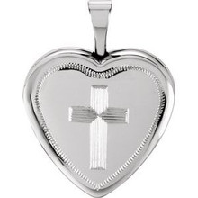 A sweet look, this locket is perfect for the one you love. Cross Heart Locket In Sterling Silver. Polished to a brilliant shine.