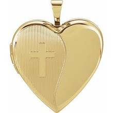 A sweet look, this locket is perfect for the one you love. Heart Cross Locket In 14K Yellow Gold. Polished to a brilliant shine.