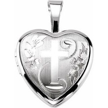 This lovely pendant features a sterling silver filled heart shaped locket with a cross on the front.