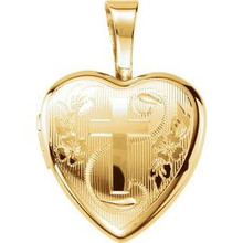 This lovely pendant features a gold plated & sterling silver filled heart shaped locket with a cross on the front.