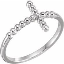 A lovely expression of faith, this beaded cross ring proclaims deep and heartfelt devotion. A meaningful look, this ring is finished with a bright polish to shine. This ring is available in size 7 only.