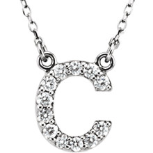 "The letter ""C"" Diamond charm suspended from a delicate 16"" diamond cut cable chain creates a personalized necklace in 14K Gold. Sparkling with 1/6 ct. t.w. of diamonds and a bright polished shine."