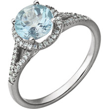 Beautiful Halo-style Gemstone Ring in 14K Solid White Gold featuring a blue topaz ring Gemstone & Diamonds. The ring consist of 1 Round Shape, 7.0 mm, Blue Topaz Gemstone with 56 Accent genuine Diamonds.  This ring is both Elegant and Classic - Perfect for everyday. The inherent beauty of these gems make this an ideal way for you to show your love to someone you care for.