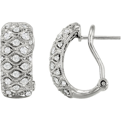 Aim to impress. A stunning pair of diamond earrings are always beautiful regardless of the occasion. Imagine showing off these 3/4 ct. tw. channel set diamond earrings during your next formal party. The stylish look of these luxurious earrings will illuminate any gown you choose to wear!      Hip style keeps you fashionable.     54 shimmering round diamonds.     Strong design for years of beauty.  Lustrous. This 3/4 ct. tw. round diamond earrings set is surrounded by 14K white gold can be both formal and casual. The diamonds have a very good round-cut, G-I color grade and I1 clarity rating.