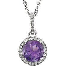 """Amethyst and Diamond 14k White Gold Halo-Styled 18"""" inch Birthstone Pendant Necklace. A 7.0mm Genuine Round Amethyst is surrounded by 1/10 ct.tw. of Sparkling Genuine Round Diamonds."""
