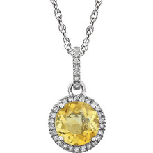 """Citrine and Diamond 14k White Gold Halo-Styled 18"""" inch Birthstone Pendant Necklace. A 7.0mm Genuine Round Citrine is surrounded by 1/10 ct.tw. of Sparkling Genuine Round Diamonds."""