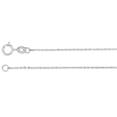 This 14K white gold diamond-cut cable chain is available from 16, 18, 20 and 24 inches in length, perfect for accommodating a range of styles. The necklace is secured with a spring ring clasp.