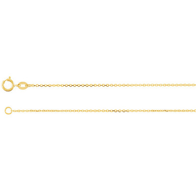 This 14K Yellow Gold diamond-cut cable chain is available from 16, 18, 20 and 24 inches in length, perfect for accommodating a range of styles. The necklace is secured with a spring ring clasp.