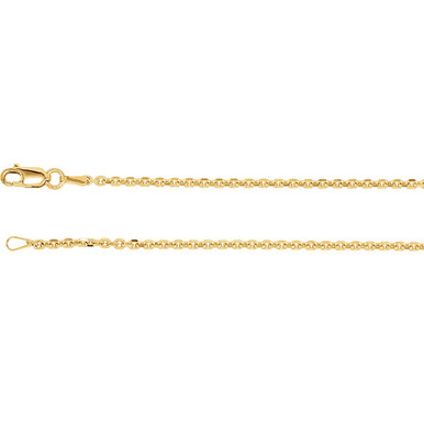 This 14K Yellow Gold solid diamond-cut cable chain is available from 16, 18, 20 and 24 inches in length, perfect for accommodating a range of styles. The necklace is secured with a lobster clasp.