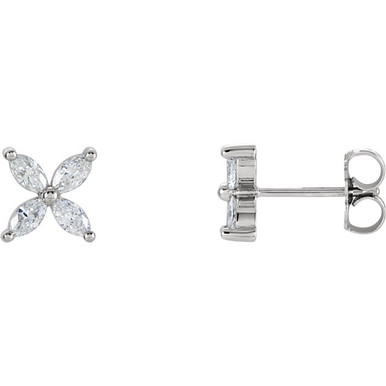 With ease and elegance, these diamond cluster earrings elevate any attire. Fashioned in 14K white gold, each earring showcases four shimmering marquise diamonds arranged in a flower-like setting. Radiant with 5/8 ct. t.w. of diamonds, these post earrings secure comfortably with screw backs.