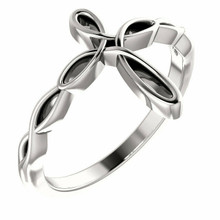 This lovely ring for her features a cross design styled in sterling silver.