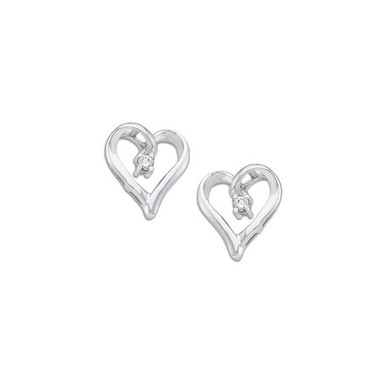 Fashioned in 14K Gold, each diamond heart earring features a shimmering round diamond accent. Polished to a brilliant shine, these post earrings secure with friction backs.