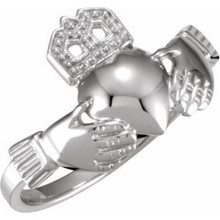 The Claddagh: the crown represents loyalty, the heart represents love, and the hands represent friendship. It is widely known as a symbol for great friendship. This ancient Gaelic design is also used in engagement rings and in traditional wedding rings for the irish. If worn on the right hand with the heart facing out it means you are single, facing in means you are dating someone. If worn on the left hand with the heart facing out it means you are engaged and facing in you are married.
