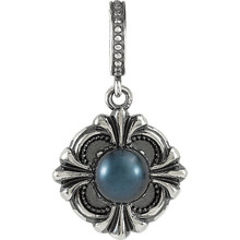 An elegant look, this drop pendant will catch the eye and captivate. Fashioned in fine sterling silver, this dazzling pendant has luminous 6.0mm cultured round half drilled akoya pearl.
